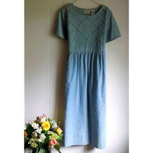 Vintage 90s Erika Daisy Denim Jean Babydoll Dress